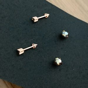 2 pairs of Arrows & Bezel Stud Earrings